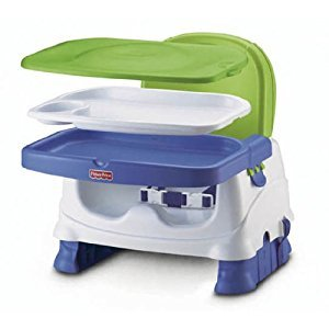 Fisher-Price Healthy Care Deluxe Booster Seat Bouncer, Blue/Green/Gray