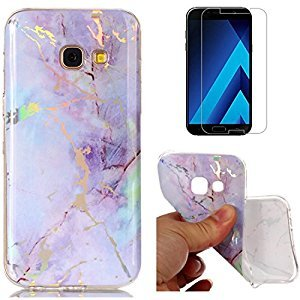 For Samsung Galaxy A5 2017 A520 Marble Case Purple,OYIME Unique Luxury Glitter Colorful Plating Pattern Skin Design Clear Silicone Rubber Slim Fit Ultra Thin Protective Back Cover Glossy Soft Gel TPU Shell Shockproof Drop Protection Protective Transparent