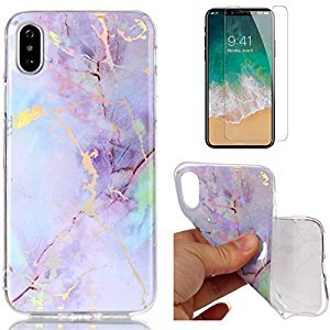 For iphone X Marble Case Purple,OYIME Unique Luxury Glitter Colorful Plating Pattern Skin Design Clear Silicone Rubber Slim Fit Ultra Thin Protective Back Cover Glossy Soft Gel TPU Shell Shockproof Drop Protection Protective Transparent Bumper and Screen P