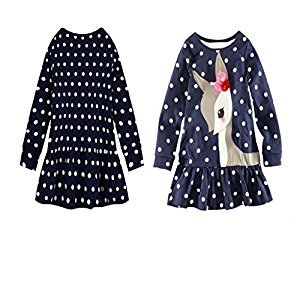 Distinct® Girls Cute Long Sleeve Cotton Polka Dots Deer Dress