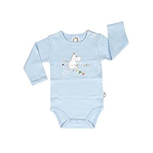 Moomin Baby Boys / Girls Romper, Bodysuit, Jumpsuit with Long Sleeves (Blue) - 100% Cotton - (74 - 12-15 Month Old)
