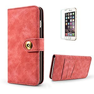 Funyye 2 in 1 Wallet Leather Case for iPhone 7,Classic Red Premium Multifunctional Magnetic Flip Stand Case for iPhone 8,Detachable Hard Back Cover with Foldable Card Slots Leather Case for iPhone 7/8 4.7 inch + 1 x Free Screen Protector