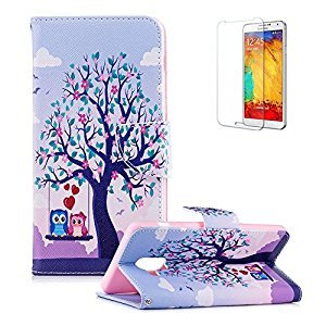 Funyye Magnetic Flip Cover for Samsung Galaxy A8 2018,Premium Stylish Owl Tree Pattern Wallet Stand Soft Silicone PU Leather Case for Samsung Galaxy A8 2018 + 1 x Free Screen Protector