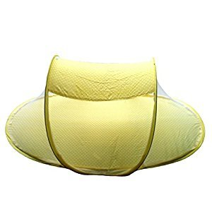 GUANGRUIDA Unisex Foldable Carrying Mosquito Net Beach Play Tent Travel Tent Bed Playpen Baby Tent(Yellow)
