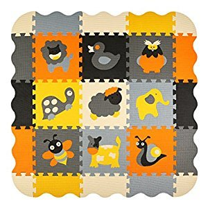 meiqicool Puzzle Play Mat Foam Floor Mats for Kids Baby Room Decor Children Interlocking Jigsaw Playmat Tiles,P011B