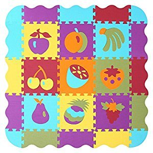 Meiqicool Puzzle Play Mat with Fence | Baby Crawling Mat | Toddler Foam Playmat Set | Infant Play Gym Mat | Floor Mats for Kids , Cute Cartoon Fruit ,P006B3010
