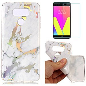 For LG G6 Marble Case White,OYIME Unique Luxury Glitter Colorful Plating Pattern Skin Design Clear Silicone Rubber Slim Fit Ultra Thin Protective Back Cover Glossy Soft Gel TPU Shell Shockproof Drop Protection Protective Transparent Bumper and Screen Prote