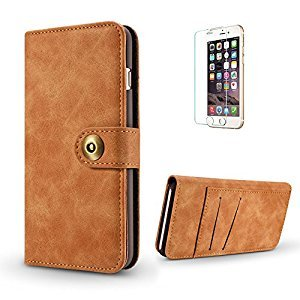 Funyye 2 in 1 Wallet Leather Case for iPhone 7,Classic Brown Premium Multifunctional Magnetic Flip Stand Case for iPhone 8,Detachable Hard Back Cover with Foldable Card Slots Leather Case for iPhone 7/8 4.7 inch + 1 x Free Screen Protector