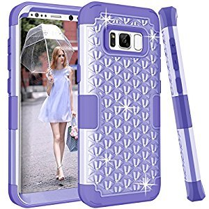 Gostyle Samsung Galaxy S8 Plus Bling Glitter Shockproof Case,Fashion 3 in 1 Hybrid Hard Plastic Soft Silicone Crystal Diamond Full Protection Anti-scratch Anti-drop Cover,Purple