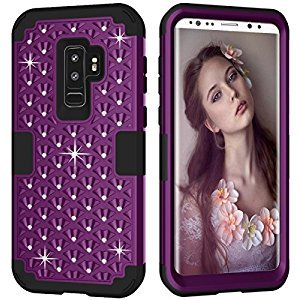 Gostyle Samsung Galaxy S9 Bling Glitter Shockproof Case,Fashion 3 in 1 Hybrid Hard Plastic Soft Silicone Crystal Diamond Full Protection Anti-scratch Anti-drop Cover,Dark Purple + Black