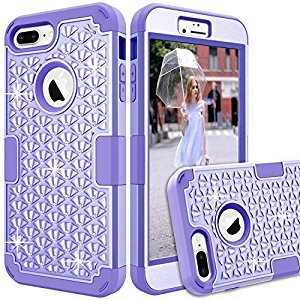 iPhone 7 Plus Shockproof Case,iPhone 8 Plus Bling Glitter Case,Gostyle Fashion 3 in 1 Hybrid Hard Plastic Soft Silicone Crystal Diamond Full Protection Anti-scratch Anti-drop Cover,Purple