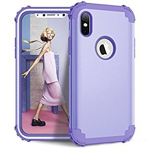 Shockproof Case for iPhone X,Gostyle Luxury Detachable 3 in 1 Hybrid Hard PC + Soft Silicone Drop Protection Armor Case Anti-scratch Bumper Full Protection Cover,Purple
