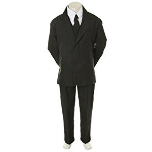 Angels Garment Boys Size 8 Black Classic 5 Pc Set Tuxedo Suit