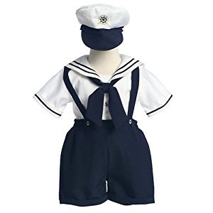 Lito Baby Boys Spring White Navy Sailor Easter Outfit Set 12M