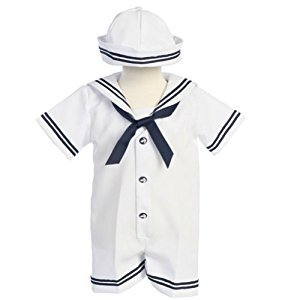 Lito Baby Boys White Navy Sailor Romper Hat Set 6-12M