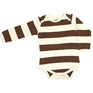 Organic Baby Clothing Long Sleeve Onesies GOTS Certified Cotton (Brown Stripes, 3-6m)