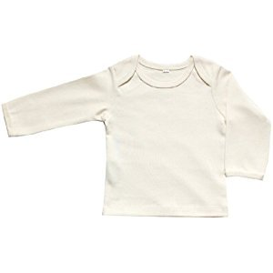 Organic Cotton Baby Long Sleeve T-Shirt GOTS Certified No Dyes (Natural, 12-18m)