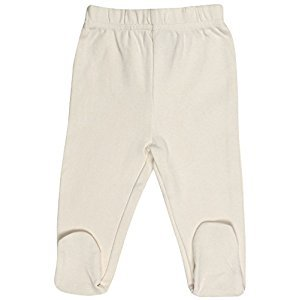 Organic Cotton Baby Pants Footed GOTS Certified Clothes (Natural, 3-6m)