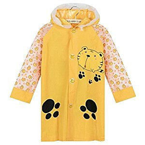 Yellow Tiger Cute Baby Rain Jacket Infant Raincoat Toddler Rain Wear M