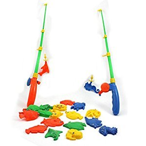 Baby Kid Toy Magnetic Fishing Two Rods + Various Fish Model Pretend Play Fun Toy Random Color