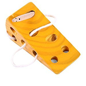 Homyl Kids Intelligence Montessori Puzzle Wooden Cheese Toy Threading Lacing Game