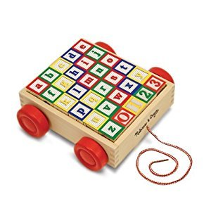 Melissa & Doug Classic ABC Wooden Block Cart Educational Toy With 30 Solid Wood Blocks (LC)