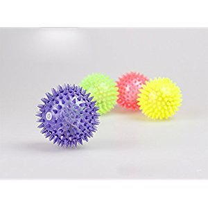 5pcs Flashing Light Up Elastic Spike Ball Toys for Baby and Kids,Novelty 5.5cm Massage Sensory Balls for Boys and Girls Birthday Gift