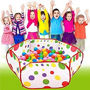 Chunlin® Portable Cute Hexagon Polka Dot Kids Playpen Ball Pit Indoor and Outdoor Easy Folding Play House Children Toy Play Tent (style 01# Pool-0.9M)