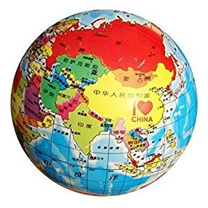 MyToy 8.5'' nflatable Globe Toy Ball Baby Early Educational Teaching Tool Inflated Beach Ball Kids Learning and Playing Geography World Map