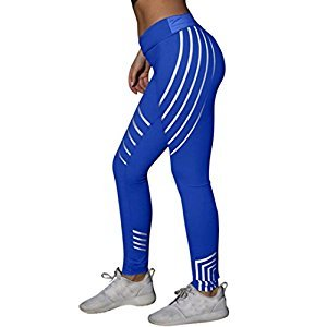 Sumen Women Active Yoga Fitness Leggings Laser Running Tights Sports Pants (S, Blue)