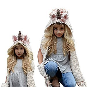 Girls Hoodie Hat Scarf, Bonice Unicorn Tassel Wool Winter Fall Knitted Shawl Hats Cap Hooded Cloak Cape Caps Beanies Party Cosplay Gifts for 3-12 Year Old Girls - Pink Unicorn