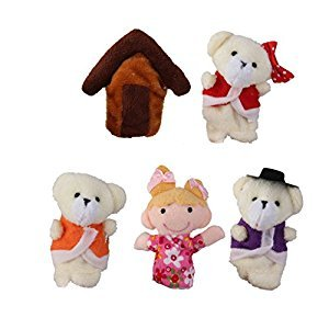 5pcs Goldilocks and Three Bears Finger Puppets Set Nursery Rhyme