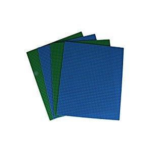 Classic Baseplates for Building Bricks by Strictly Briks | 100% Compatible with Major Brands | Building Bases for Tables, Mats and More! | 4 Base Plates in Blue & Green 15.75
