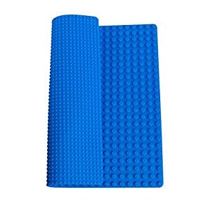 "Classic Blue Roll Up Building Mat by Strictly Briks® | 15"" x 15"" Double Sided Silicone Travel Mat 