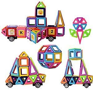 Magnetic Building Blocks, 76pcs Magnetic Tiles Construction Blocks Eco Stacking Toys,3D Educational Toys Set for Kids Girls Boys(Including 26Pcs Card)