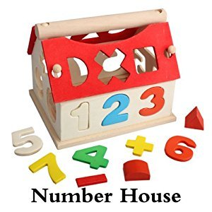 xlpace Wooden Toy House Intellectual Souptoy Kid Building Block Numbers Multicolor