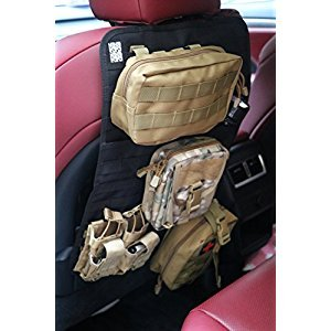 Car Seat Back Organizer, LefRight Tactical MOLLE Slit Pocket Universal Fit Car Seat Back Cover Protector