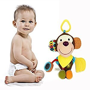 Cisixin Baby Toys Infant Soft Appease Toy baby rattles Teether Monkey style ( 0-2 Years Old)