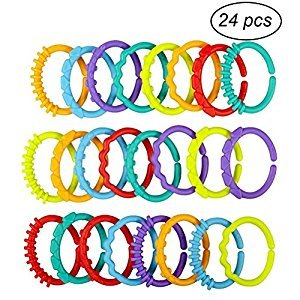 TOYMYTOY Baby Teething Links Rings BPA Free and Freezer Safe Strollers Seat Travel Toys 24PCS
