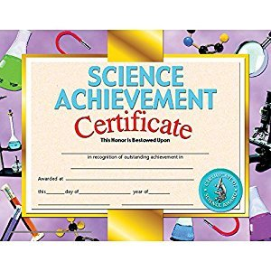 HAYES SCHOOL PUBLISHING H-VA671 CERTIFICATES SCIENCE ACHIEVEMENT-36/PK 8-1/2 X 11 INKJET/LASER
