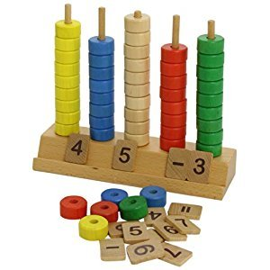 Miniland Educational 95234 Abacus with shapes: 1 abacus + 100 shapes ( 10 shapes x 10 colours) / box