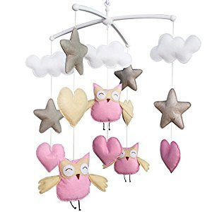 Baby Boy & Girl Bedding Rattle Toy, Baby Gift, Infant Bed Bell [Owl, Happiness]