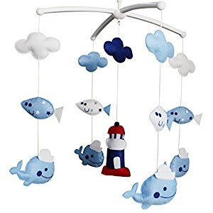 Baby Dream Musical Mobile, Colorful Baby Gift, [Lighthouse and Whales]