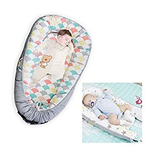 Baby Lounger, Portable Super Soft and Breathable Newborn Infant Bassinet, Nest for Cosleeping, Tummy Time and Lounging (Shell)