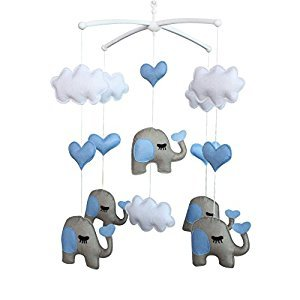 Cute Newborn Baby Bed Bell, Pretty Hanging Decor Gift [Elephant, Clouds]