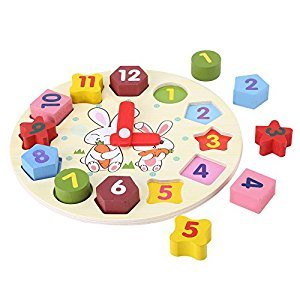 Children Puzzle Clock Cartoon Rabbit Puzzle Educational Wooden Digital Geometry Clock Toy Set