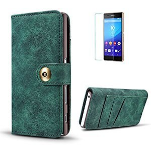 Funyye 2 in 1 Wallet Leather Case for Sony X Compact,Classic Green Premium Multifunctional Magnetic Flip Stand Case for Sony X Compact,Detachable Hard Back Cover with Foldable Card Slots Leather Case for Sony X Compact + 1 x Free Screen Protector