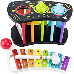 Imagination Generation TMUS-002 Space Adventure Pound and Tap Bench with Slide Out Xylophone, Black, Rainbow