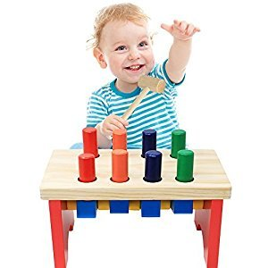 NEOWOWS Wooden Pounding Bench Toy with Mallet Deluxe Early Educational Games for Toddlers Kids 3 and Up