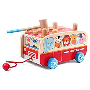 Rolimate Wooden Hammering & Pounding Toys + Push & Pull Toys + Forest Animals Happy Bus (LxWxH=24*15*13cm)